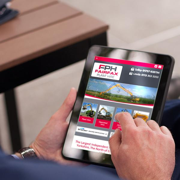 fairfax plant hire website design on an ipad