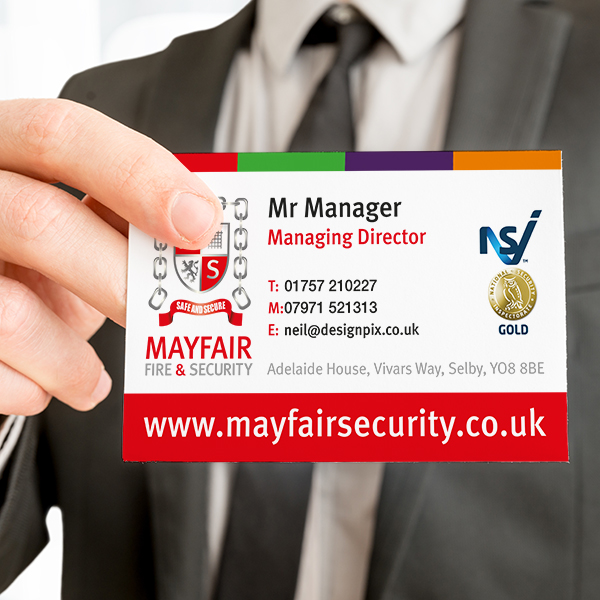 business card printer for mayfair security selby